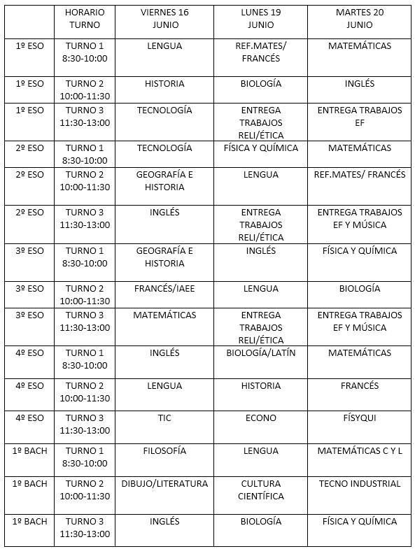 Horarios Exámenes de Suficiencia (Junio)